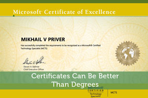Certificates Can Be Better Than Degrees