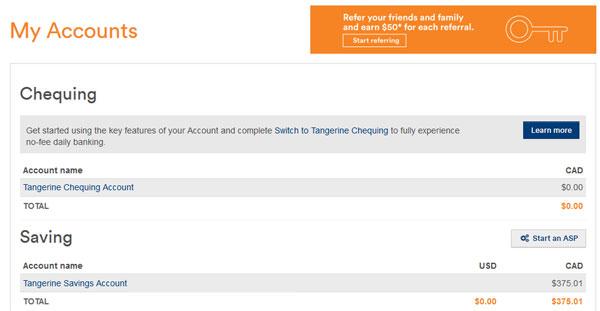 Tangerine account bonus