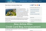 New Airline Miles Credit Card Blog Announcement
