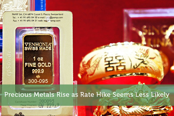 Precious Metals Rise as Rate Hike Seems Less Likely