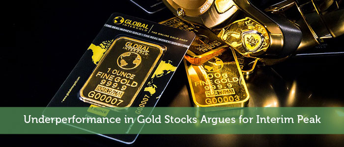 Underperformance in Gold Stocks Argues for Interim Peak
