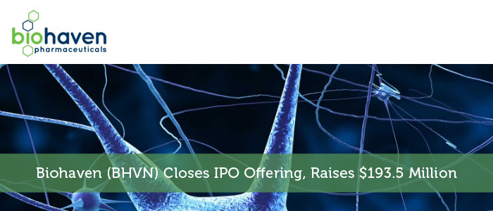 Biohaven (BHVN) Closes IPO Offering, Raises $193.5 Million