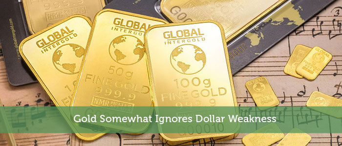 Gold Somewhat Ignores Dollar Weakness