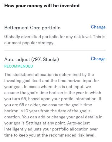 Betterment Auto Adjust